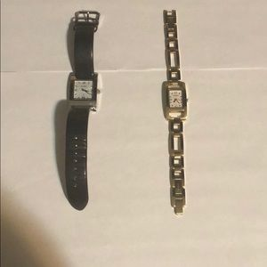 Pair of Fossil Watches - Gold and Black Leather